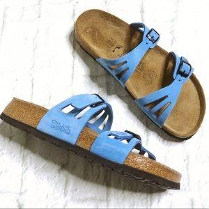 Birki's light blue double strap slides
